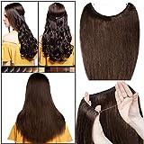 """Extension Cheveux Naturel a Fil Invisible Transparent a Enfiler Remy Cheveux Humain Sans Clips (#4 CHATAIN, 22""""/55cm-75g)"""
