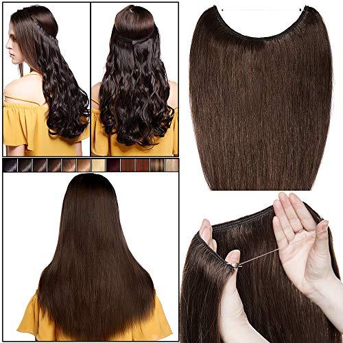 40cm-55cm extension capelli veri filo invisibile #4 marrone cioccolato - capelli naturali umani 100% remy human hair lisci lunghi estensioni wire trasparente no clip one piece 40cm 60g