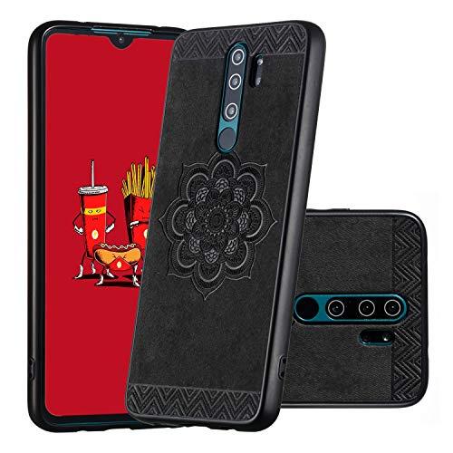 Miagon Zurück Hülle für Xiaomi Redmi Note 8 Pro,PU Leder Mandala Blume Muster Slim Handytasche Schutzhülle Backcover Protective Dünn Bumper,Schwarz