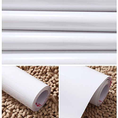 Dettagli su KINLO Adesivi carta per mobili 0.6M*5M(1 Rotolo) Bianco Nessuna  colla PVC Imper