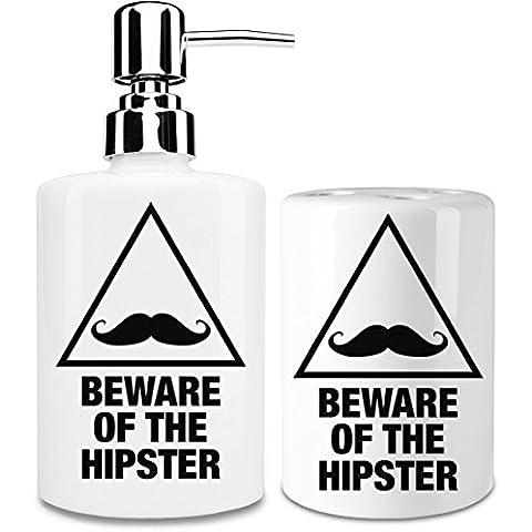 Beware of the hipster Dispensador de jabón y Porta Cepillo de dientes