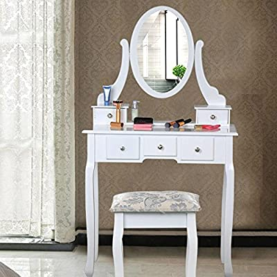 Popamazing Shabby Chic White Dressing Table with Oval Mirror and Stool Bedroom Sets 5 Storage Drawers Make Up Desk - low-cost UK light shop.