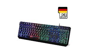 KLIM Chroma Tastatur Gamer QWERTZ DEUTSCH mit USB Kabel – Hohe Leistung – Bunte Beleuchtung (Schwarz) RGB - PC, PS4 & Xbox One 2019 Version