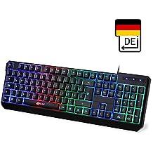 KLIM Chroma Gaming Tastatur - Gamer Keyboard LED Beleuchtete QWERTZ DEUTSCH mit USB Kabel - Hohe Leistung - Bunte Beleuchtung RGB - PC, Laptop, PS4, Xbox One X - 2019 Version - Schwarz