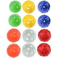 70mm Colore misto plastica Airflow pratica Golf Ball, confezione da 12pezzi, rosso, arancione, giallo, bianco, blu, verde, sei colori per la vostra scelta, ideale anche per i vostri animali, Multicolour