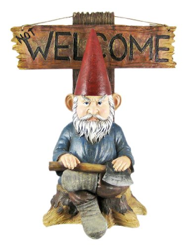 Go Away Garden Gnome un-welcome Garten Statue