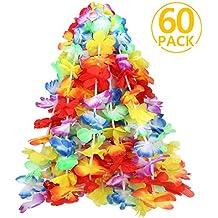 Flores Hawaianas, ivencase 60 Piezas Guirnalda Hawaiana Collar Pulsera coloridos reutilizables de Leis fuentes de