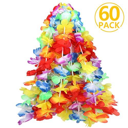 Hawaiian Luau, ivencase 60 Stück Hawaii Blumen Halskette Wiederverwendbare bunte leis ketten für dekoration lieferungen - Hawaii Garlands ideal für Party Ferien Zeremonie