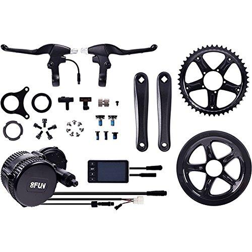 Bafang 8FUN,BBS-01 250 Watt Mittelmotor Umbausatz zum Elektrofahrrad,Pedelec,E-Bike mit 2 Bremshebel,C5 LED Display,Sensor,Zahnrad und Pedalarmen