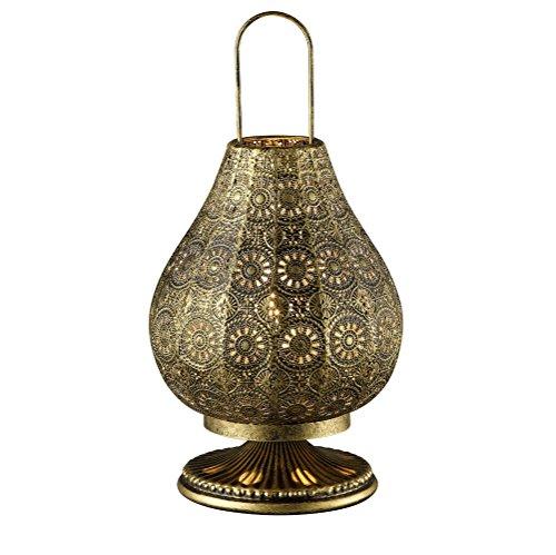 Tischleuchte im orientalischen Stil aus Metall - Ø 19cm, Leuchte in Altmessing inklusive 4W LED-Kerzenlampe (Kupfer Antik Tisch)