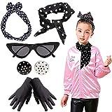 Yansion 1950er Jahre Kostüm Zubehör für Schal, Katzenauge, Brille, Stirnband, Ohrringe und Handschuhe 50er Jahre, Kostüm-Zubehör für Frauen und Kinder (schwarz)