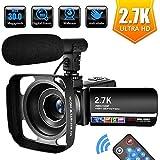 Videocamera Videocamere per Youtube 2.7K Full HD 30 MP Videocamera Digitale 18X Telecamera con Microfono, Telecomando e Paraluce