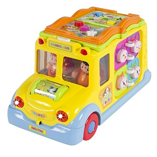Best Choice Products Toy Educational Musical Yellow School Bus Bump and Go, Headlights, Music and Games by Best Choice Products (Go Go School Bus)