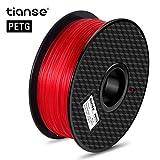 TIANSE Filamento de PETG para la impresora 3D / Pluma 3d, 1 kg 1,75 mm(Rojo)