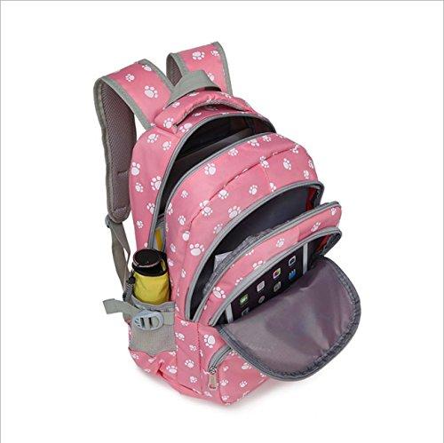 Studenti Candy Color School Bag zampa di cane stampa la borsa dello zaino sacchetto di spalla borsa del computer portatile borsa del sacchetto di scuola del sacchetto del studente universitario Pink