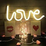 Neon Light, LED Love Segni,Lampada da Muro Decorazione per Natale, Feste di Compleanno dei Bambini, Soggiorno, Festa di Nozze Decor(bianco caldo)