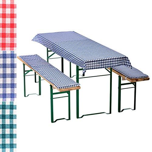 Bierbankauflagen-Set 3-teilig in blau: 1 Tischdecke 130 x 70 cm + 2 gepolsterte Bierbankauflagen 110...