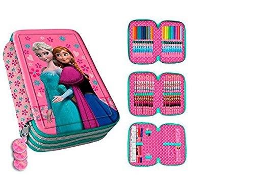 Schüleretui - Federmäppchen Federmappe gefüllt für den Schulanfang - Panell - 3 Stöckig - Frozen - Die Eiskönigin - Elsa - Anna - mit ein Reißverschluß ideal auch für die Vorschule im Kindergarten