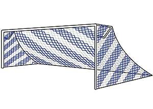 Filets Buts de Foot à 11 de 7,3x2,4x0,9x2,7 m, de 2 Couleurs [Net World Sports] (Blanc/Bleu, Paire)