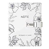 Cheerlife Tagebuch mit Schloss, Leder Notizbuch mit Passwort DIN A5 Reisetagebuch mit Zahlenschloss nachfüllbare lose Blätter (Weiß)