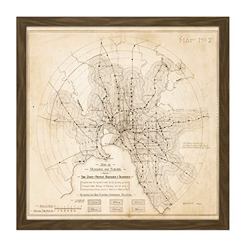 Map Transport Mmtb 1922 Melbourne Trams Trains Replica Square Wooden Framed Wall Art Print Picture 16X16 Inch Karte Zug Holz Wand Bild