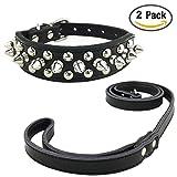 Newtensina Mode Hundehalsband und Leinen Set Weich Nieten Halsband mit Leder Leinen für Kleine Hunde Mittlere Hunde