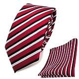 Schmale TigerTie Designer Krawatte + Einstecktuch in rot schwarz weiss gestreift