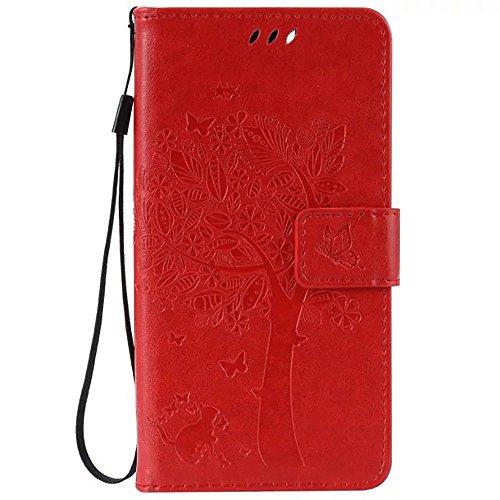 WIKO LENNY 3 Case, embossé Fleurs Cat And Arbre Solide boîtier Wallet Stand étui en cuir couleur PU Avec Dragonne Silicone Cover Pour WIKO LENNY 3 ( Color : Red , Size : WIKO LENNY 3 ) Red
