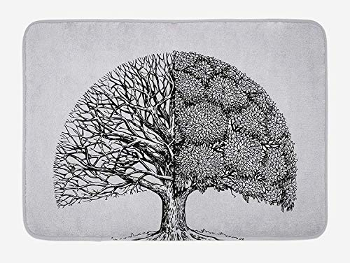 GKSHN Tree of Life Bath Mat, Plant with Different Themes Leafless And Petals Symbol for Climate Change, Plush Bathroom Decor Mat with Non Slip Backing, 15.7X23.6 inch, White Black