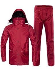 aiqi Mujeres y Hombres Traje impermeable de exterior, resistente al agua (Conjunto Pantalón y Chaqueta), hombre mujer, rojo