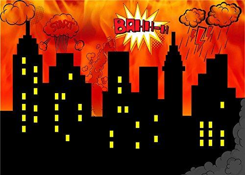 Daniu Super Hero City Fotografie Backdrops Foto Requisiten Vinyl Hintergrund für Baby Studio 7x5FT 210cm x 150cm Daniu-sc010