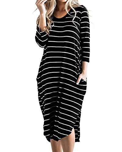 CNFIO Damen T Shirt Kleid Übergröße Boho Streifen Kleid Herbst 3/4 Langarm Kleider mit Tasche C-Schwarz EU42 (Für Winter Stiefel Frauen Kleid)