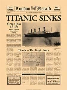 Reproduction d'art 'Naufrage du Titanic : article du London Herald, 1912', Taille: 30 x 40 cm