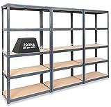 Pack of 3 Extra Deep STORALEX® Garage Shelving Racking Units – UK's Bestselling Garage Storage Shelves - 600mm Deep Version - 200kg Per Shelf (Evenly Distributed) - 5 Tier Shelf Unit - Metal & MDF Boltless Assembly System