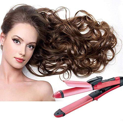 Vmoni 2 in 1 Ceramic Plate Essential Combo Beauty Set of Hair Straightener and Hair Curler for Women (Multicolour)