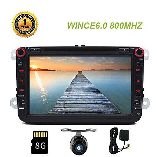 Autoradio double DIN stéréo de voiture avec Bluetooth et GPS Navigation pour VW Touran Golf Tiguan Bora lecteur DVD avec EU 8Go gratuit carte 20,3cm WinCE Système Bluetooth SWC CANBUS + Gratuit Camera