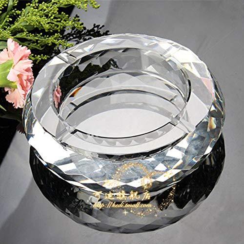 ZXW Cenicero- Cenicero de Vidrio cristalino Europeo/Personalidad Creativa Inicio Cenicero práctico/Adornos Decorativos Regalo de Seis Opcional (ø15cm * H4cm) (Color : Transparente)