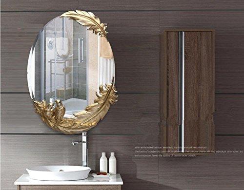 Xiuxiandianju Elegante specchio comò d'arte minimalista specchio appeso in vetro decorativi adesivi murali specchio in (Camera Ovale Dresser)