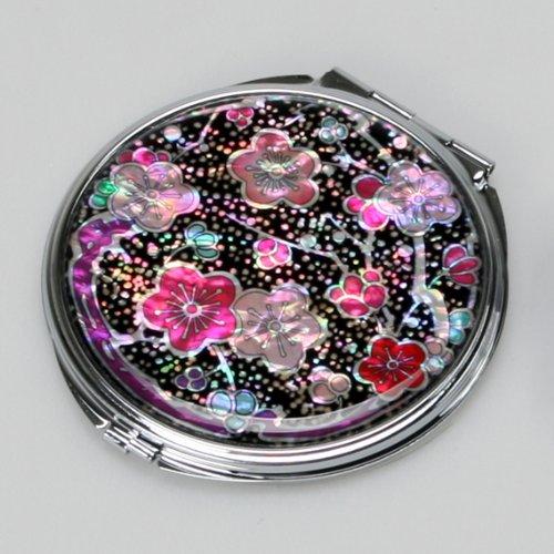 Miroir Compact en nacre Miroir pour maquillage pour maquillage ou cosmétiques miroir de sac ou sac avec motif fleurs Maehwa Rose et Rouges