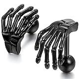 Jewelrywe Joyas Para Pendientes Para Mujer, Diseño de Calavera de Esqueleto de Mano Estilo Retro, Acero Inoxidable, Color Negro con () Bolsa de Regalo negro