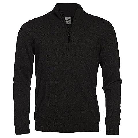 L. Bo Apparel, Cozy: Herren Pullover mit Stehkragen und Zip, Kaschmir/Baumwolle Sweater Reißverschluss (XX-Large, Schwarz)