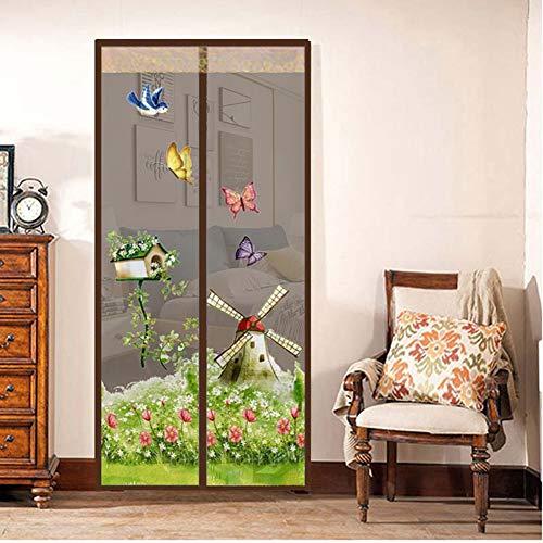 Fliegengitter Magnet MoskitoNet Sommer Anti-Moskito Mesh magnetische Vorhänge weiches Garn Tür Tüll Fenster Bildschirm,Brown,80 * 200CM ()