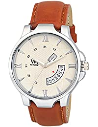 Watch Me Day Date Collection White Dial Brown Leather Strap Watch For Men And Boys DDWM-043 DDWM-043rto3