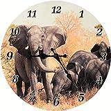 Los relojes de pared: elefante manada. La fig. Elefante. África. Reloj con motivo