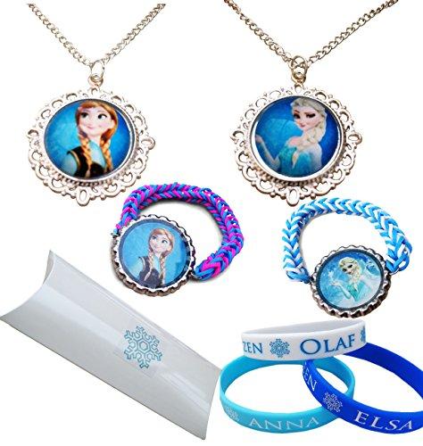 Eingefroren.Geschenkpackung. Snow Queen Elsa und Prinzessin Anna Halsketten mit AnhŠnger und 5 X Junior Grš§e Silikon und Loom ArmbŠnder (Eingefroren Mädchen Kleider)