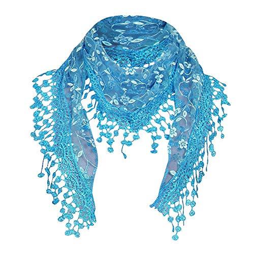 (YEBIRAL Heißer Verkauf Damen Schal Lace Frauen Accessoires Tücher Halstuch Dreieck Schals 15 Farben(Azure Blue))
