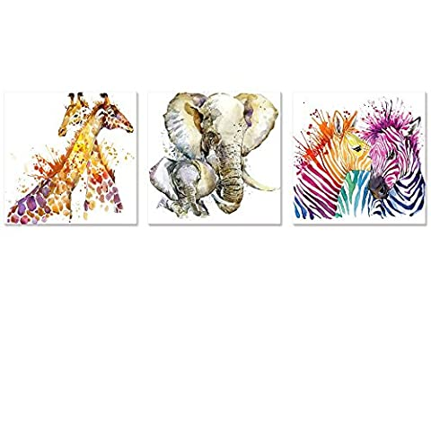 Abstract Animals Canvas Wall Art Zebra Giraffe Elephant Wall Decal Art Animals Watercolor Painting Prints Decor for Bedroom Living Room Classroom Gift for