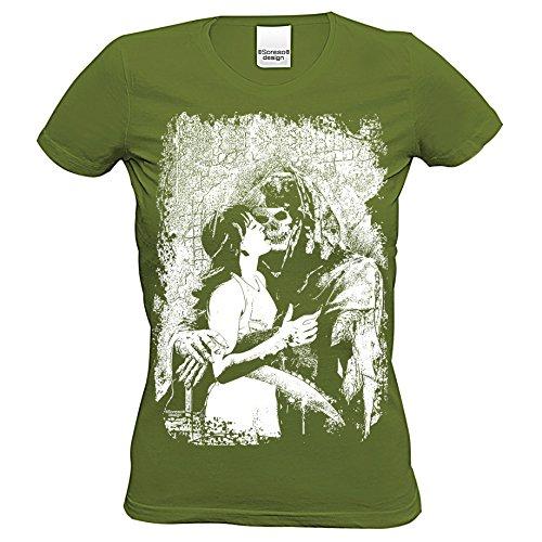 Damen T-Shirt : Sensenmann : Skull Totenkopf Skelett Biker Freizeit Shirt für Frauen Mädchen : Halloween Outfit Farbe: Khaki Gr: L (Kostüm Sensenmann Mädchen)