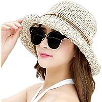 Leisial Sombrero del Pescador de Playa Protección Solar Sombrero de Playa de Ala Ancha con Arco Visera Gorro del Sol Verano Plegable para Mujeres