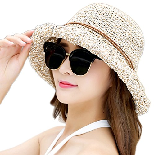 Leisial Sombrero del Pescador de Playa Protección Solar Sombrero de Playa  de Ala Ancha con Arco 6726bb4f962d